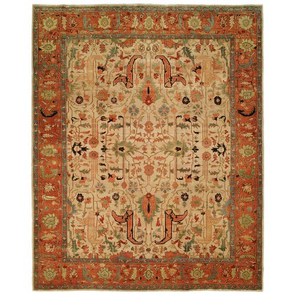 HRI Antique Heriz 101 Ivory - Rust Rugs