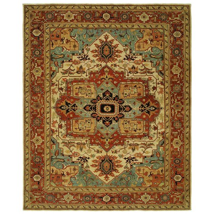HRI Antique Heriz 106-B Ivory - Red Rugs