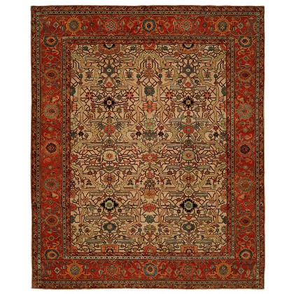 HRI Antique Heriz 109 Ivory - Red Rugs