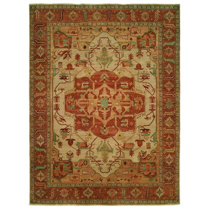 HRI Antique Heriz 113 Ivory - Rust Rugs