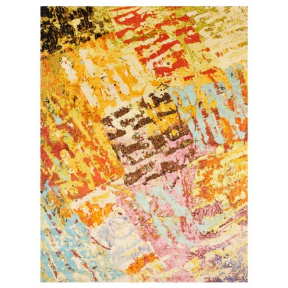 Wool & Silk Contemporary Block Party Rugs