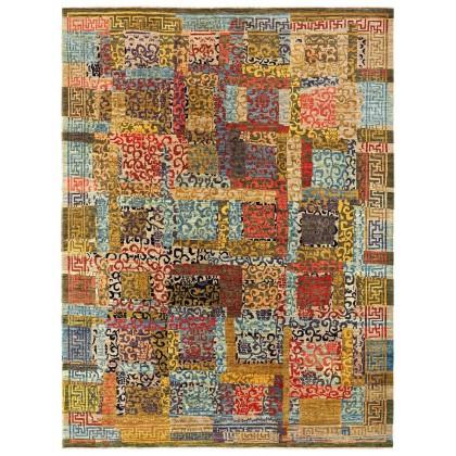 Wool & Silk Afghan Khotan Rugs