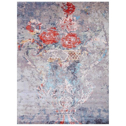 Wool & Silk Contemporary Rosa Rugs