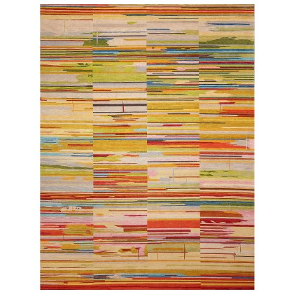 Wool & Silk Contemporary Stripes of Love Rugs